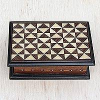 Wood jewelry box, 'Triangle Illusion' - Handcrafted Triangle Motif Wood Jewelry Box from Brazil