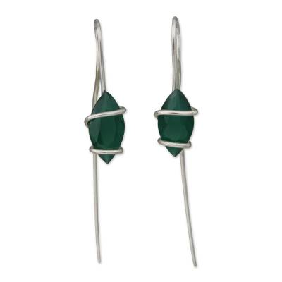 Chrysoprase and Sterling Silver Drop Earrings from Brazil
