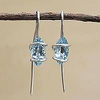Blue topaz drop earrings, 'Cherished Crystals' - Blue Topaz and Sterling Silver Drop Earrings from Brazil