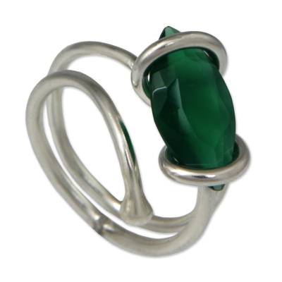 Chrysoprase and 925 Silver Single Stone Ring from Brazil