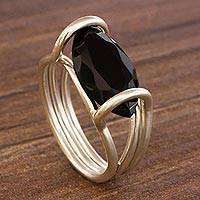 Onyx single-stone ring, 'Modern Marquise' - Onyx and Sterling Silver Single Stone Ring from Brazil