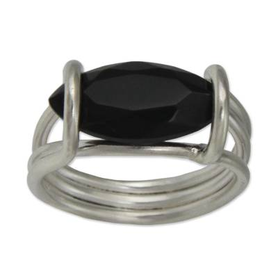 Onyx and Sterling Silver Single Stone Ring from Brazil