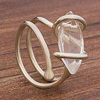 Quartz single-stone ring, 'Stellar Guidance' - Quartz and Sterling Silver Single Stone Ring from Brazil