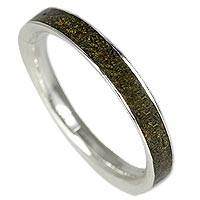 Silver and wood band ring, 'Fine Alliance in Green' - Silver and Green Jacaranda Wood Band Ring from Brazil