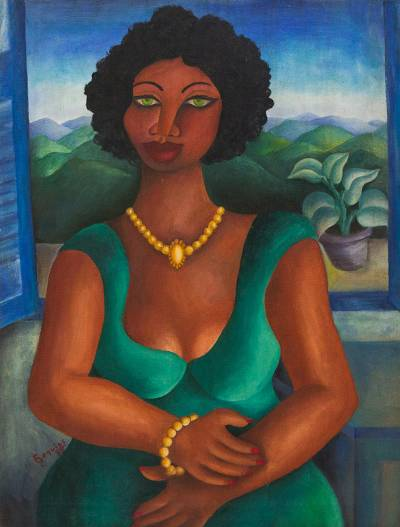 Original Portrait of a Women with Green Eyes from Brazil