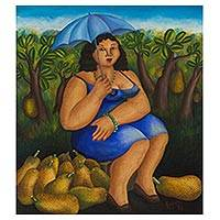 'Woman Selling Jackfruit' - Brazilian Oil Painting on Canvas of a Fruit Vendor
