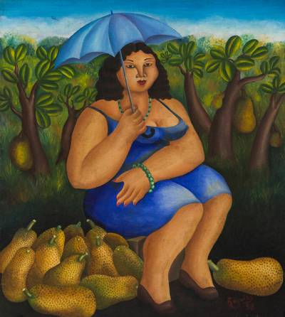 Brazilian Oil Painting on Canvas of a Fruit Vendor