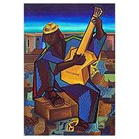 'Guitarist' (1995) - Cubist Style Brazilian Oil Painting of a Lone Guitar Player