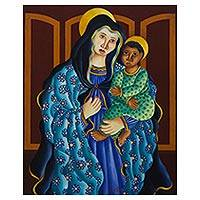 'Virgin and the Child' (1993) - Expressionist Painting of the Virgin Mary with Baby Jesus