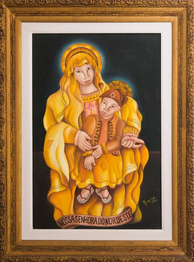 Expressionist Painting of the Virgin Mary with Baby Jesus