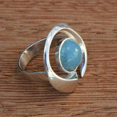 silver heart rings - Aquamarine and Silver Modern Cocktail Ring from Brazil