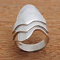 Silver cocktail ring, 'Lake Waves' - Artisan Crafted Silver Modern Cocktail Ring from Brazil