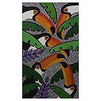 'Toucan Composition' - Original Signed Naif Painting of Brazilian Toucans
