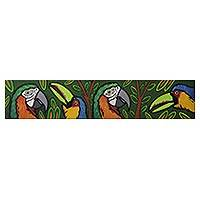 'Toucan and Macaw' - Signed Pop Art Painting of Tropical Birds from Brazil