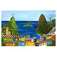 'Rio Favela II' (2017) - Signed Naif Painting of Rio de Janeiro from Brazil