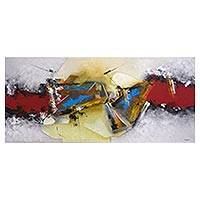'Fusion of Colors' - Signed Colorful Abstract Painting from Brazil