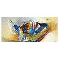 'Rainbow' - Signed Energetic Abstract Painting from Brazil