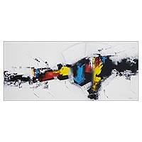 'Black Birds' - Signed Multicolored Abstract Painting from Brazil