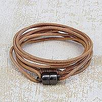 Leather wrap bracelet, 'Spatial Nature' - Handcrafted Leather Cord Wrap Bracelet in Beige from Brazil