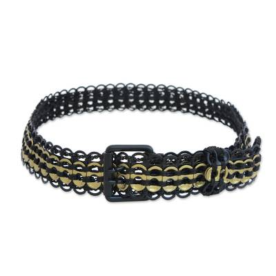 Black and Gold-Tone Soda Pop-Top Belt from Brazil