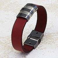 Leather wristband bracelet, 'Red Seduction' - Handcrafted Red Leather Wristband Bracelet from Brazil