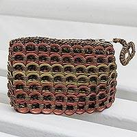 Soda pop-top coin purse, 'Precious Metals' - Metallic Recyclced Soda Pop-Top Coin Purse from Brazil