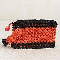 Soda pop-top wristlet, 'Tangerine Stripe' - Orange and Black Soda Pop-Top Wristlet from Brazil