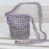 Soda pop-top sling, 'Shimmery Violet' - Recycled Aluminum Soda Pop-Top Sling in Violet from Brazil