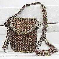 Soda pop-top sling, 'Copper and Gold Chainmail' - Upcycled Aluminum Soda Pop-Top Sling Handbag from Brazil