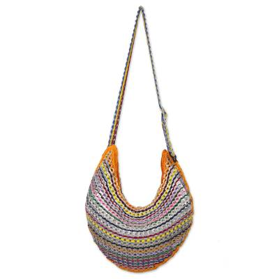 Upcycled Colorful Soda Pop-Top Hobo Bag from Brazil