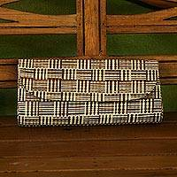 Palm leaf clutch, 'Striped Jungle' - Handwoven Striped Palm Leaf Clutch from Brazil