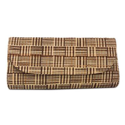 Handwoven Striped Palm Leaf Clutch from Brazil