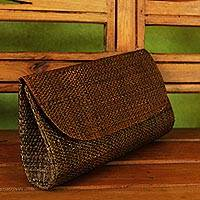 Palm leaf clutch, 'Jungle Canopy' - Handwoven Palm Leaf Clutch in Brown from Brazil