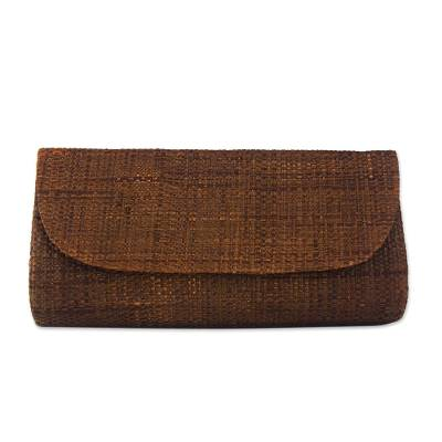 Handwoven Palm Leaf Clutch in Brown from Brazil