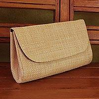 Palm leaf clutch, 'Exotic Style' - Handwoven Palm Leaf Clutch in Beige from Brazil