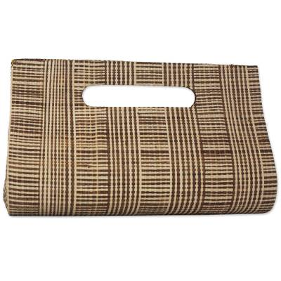 Striped Beige and Brown Palm Leaf Clutch from Brazil