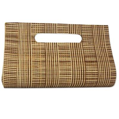Handcrafted Striped Palm Leaf Handled Clutch from Brazil