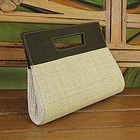 Palm leaf handbag, 'Evening Cabana' - Handcrafted Palm Leaf Handle Handbag from Brazil