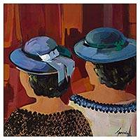 'The Friends' - Signed Impressionist Painting of Two Women from Brazil