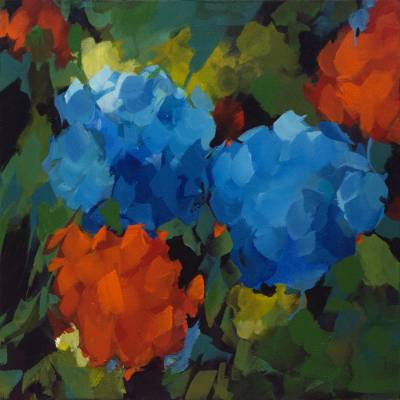 'Small Hydrangeas' - Signed Impressionist Painting of Flowers in Red and Blue