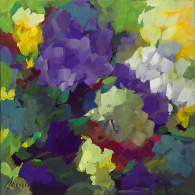 'The Flowers II' - Colorful Impressionist Painting of Flowers from Brazil