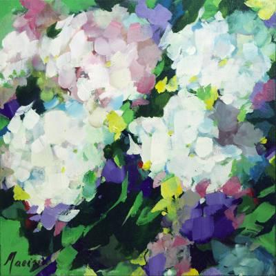 'Floral Sweetness' - Signed Impressionist Painting of White and Purple Flowers