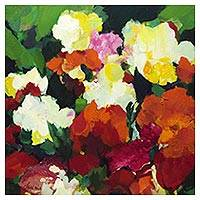 'Garden' - Multicolored Impressionist Painting of Flowers from Brazil