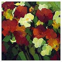 'My Flowers' - Signed Impressionist Painting of Flowers from Brazil