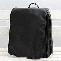 Leather backpack, 'Mysterious Traveler' - Handcrafted Black Leather Backpack with a Flap from Brazil