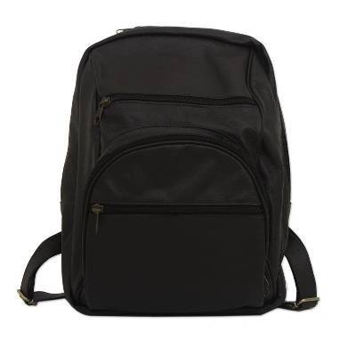 Adjustable Leather Backpack in Black from Brazil