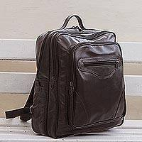 Leather backpack, 'Into the Wild' - Handcrafted Leather Backpack in Chocolate from Brazil