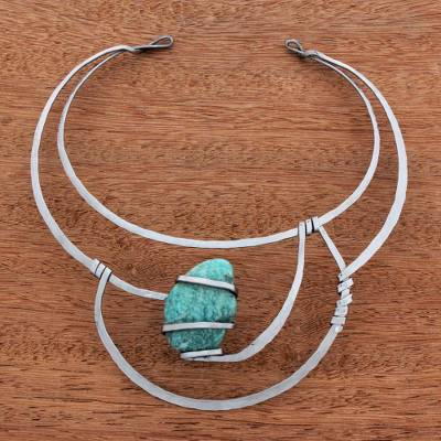 Amazonite collar necklace, 'Aqua Vicereine' - Amazonite Collar Pendant Necklace from Brazil