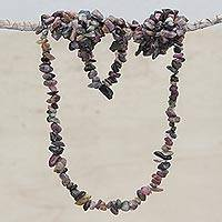 Tourmaline beaded necklace, 'Fruitful Earth' - Watermelon Tourmaline Long Strand Necklace