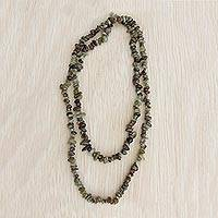 Garnet beaded necklace, 'Rainy Forest' - Natural Garnet Long Beaded Necklace from Brazil